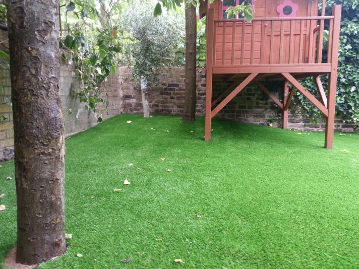 Artificial grass installed and flatten