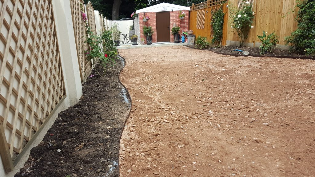 3 tonnes of crushed granite to levelled and compacted