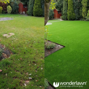 Before and after edging fake grass installation