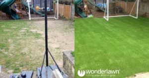 Before and after astroturf installation for kids to play football on