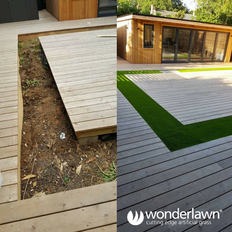 artificial grass and decking