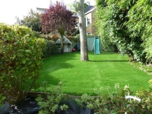childrens play area and artificial grass