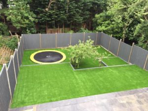 trampoline and artificial lawn