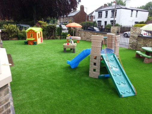 artificial grass installed at a nursery