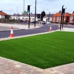commercial roadside artificial grass install