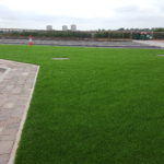 Commercial artificial grass installation at Cowgate junction of the Central Motorway