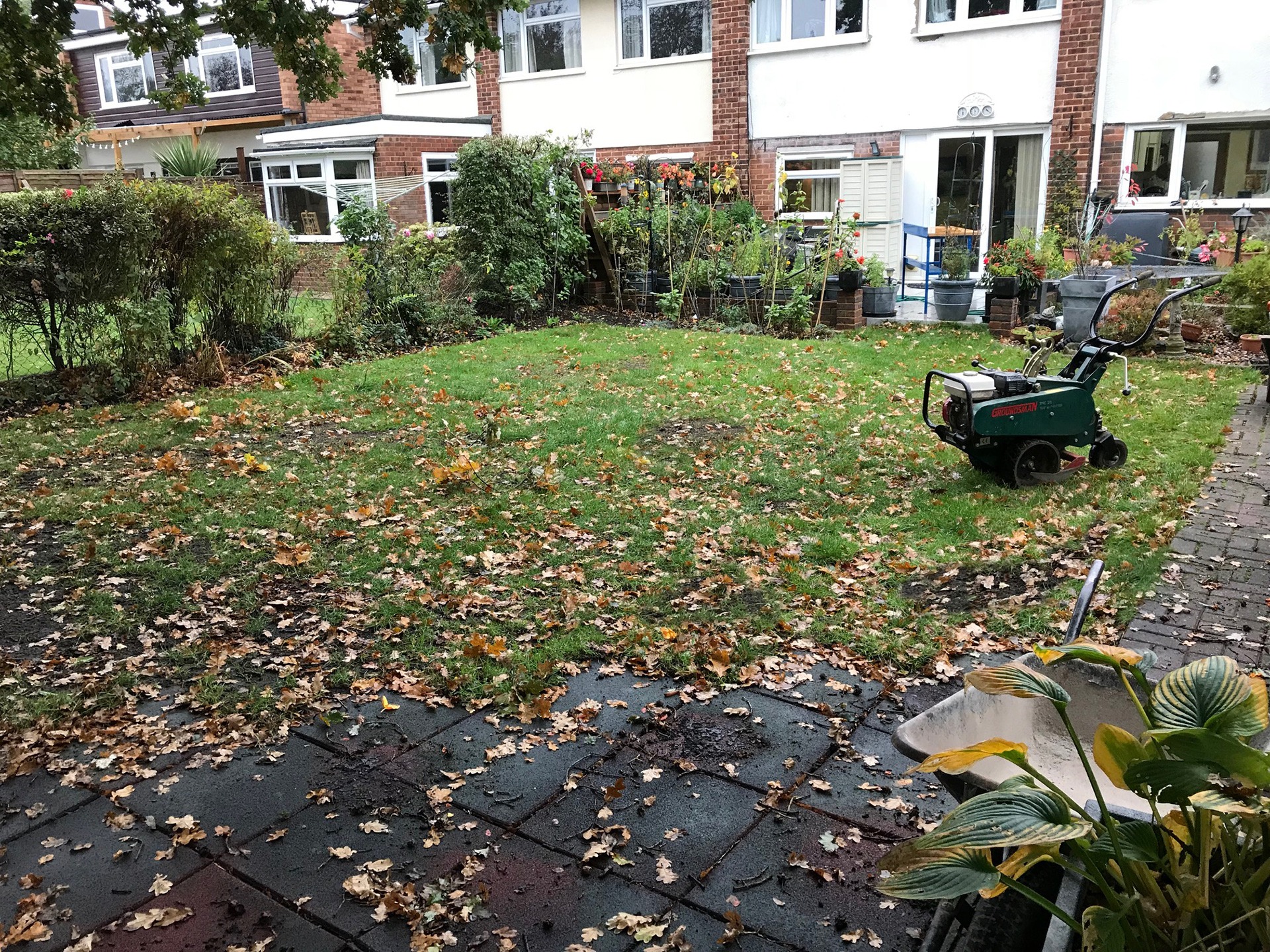The old muddy lawn before installation begins