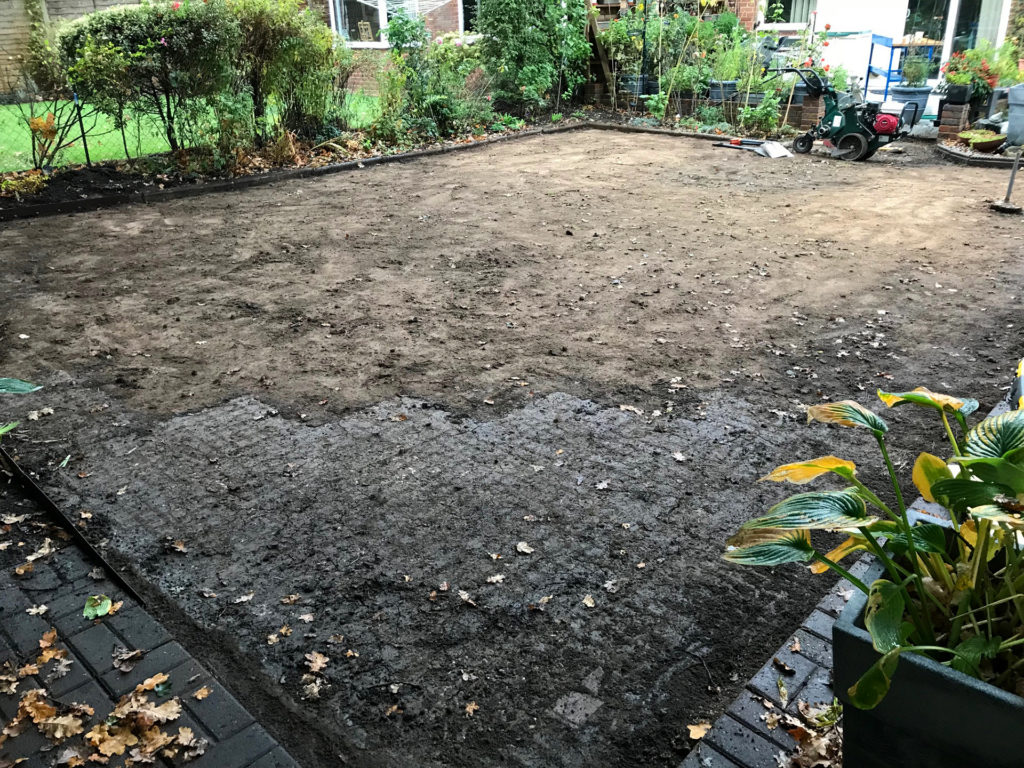 The old lawn is removed