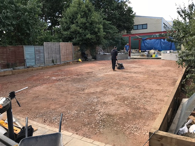 The stone sub base is installed, levelled and compacted.
