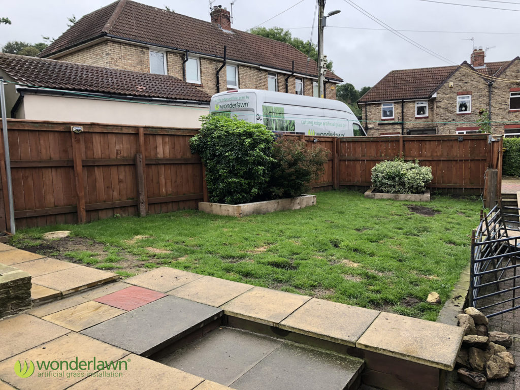 sunderland artificial grass install for dogs before