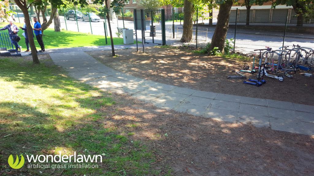 bishop gilpin school path before artificial grass installed by Wonderlawn