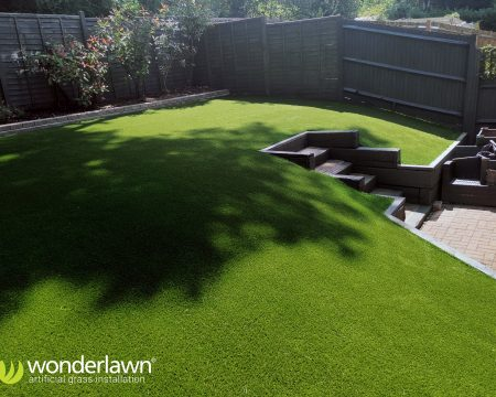 Artificial grass installed on a sloping garden Hampshire