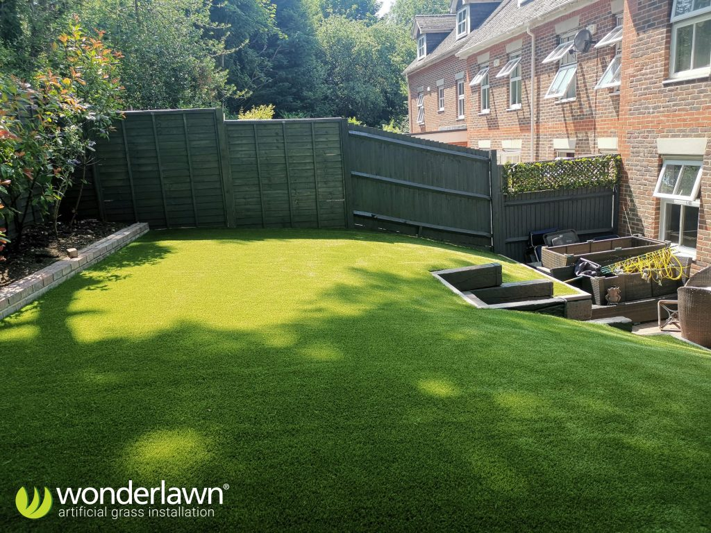 the completed artificial grass installation