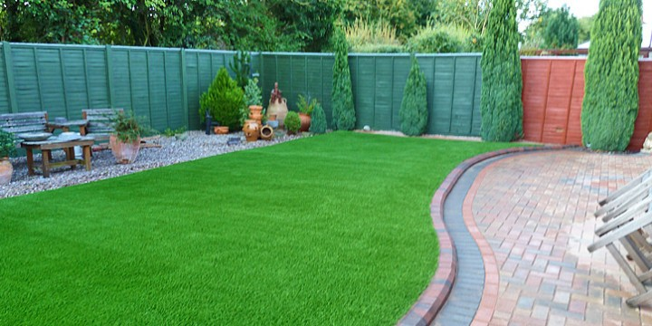 Artificial grass in a showhome garden
