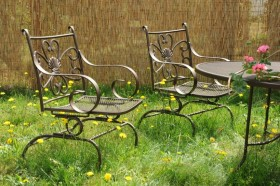 overgrown grass lawn chairs